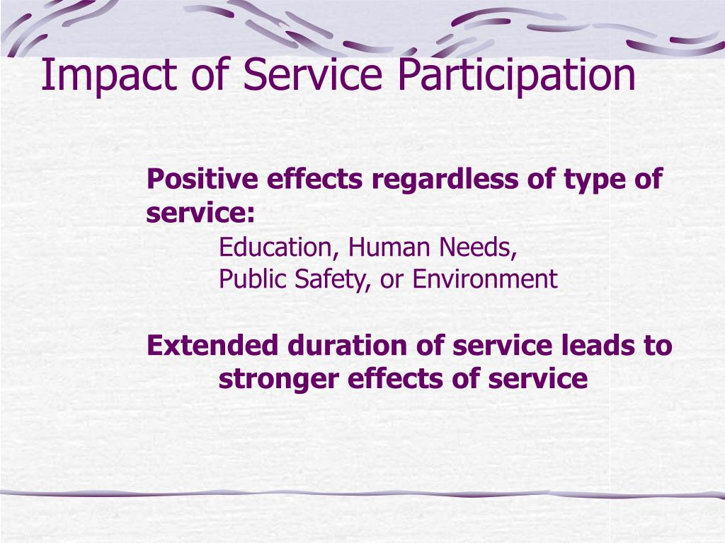 Impact of Service Participation