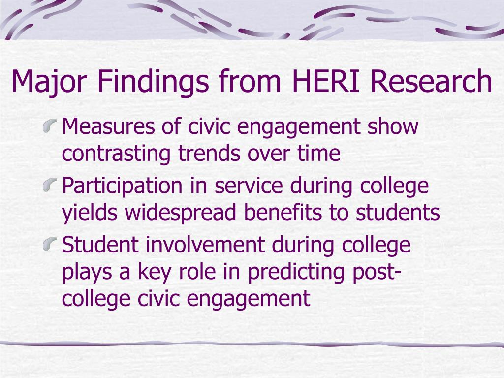 Major Findings from HERI Research
