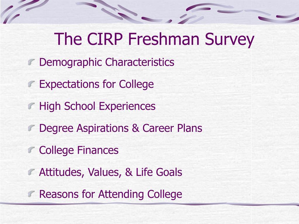 The CIRP Freshman Survey