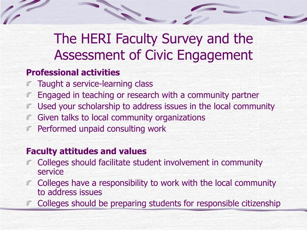 The HERI Faculty Survey and the Assessment of Civic Engagement
