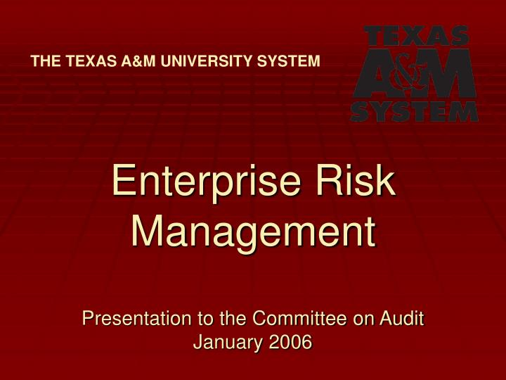 enterprise risk management presentation to the committee on audit january 2006 n.