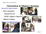 orientation ministry training