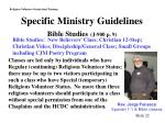 specific ministry guidelines bible studies j 900 p 9