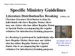 specific ministry guidelines literature distribution ice breaking j 900 p 10