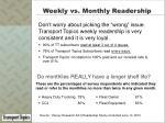 weekly vs monthly readership