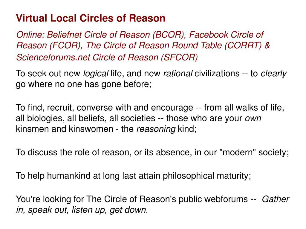 Virtual Local Circles of Reason