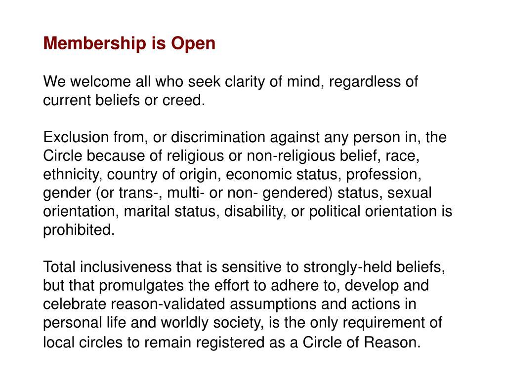 Membership is Open