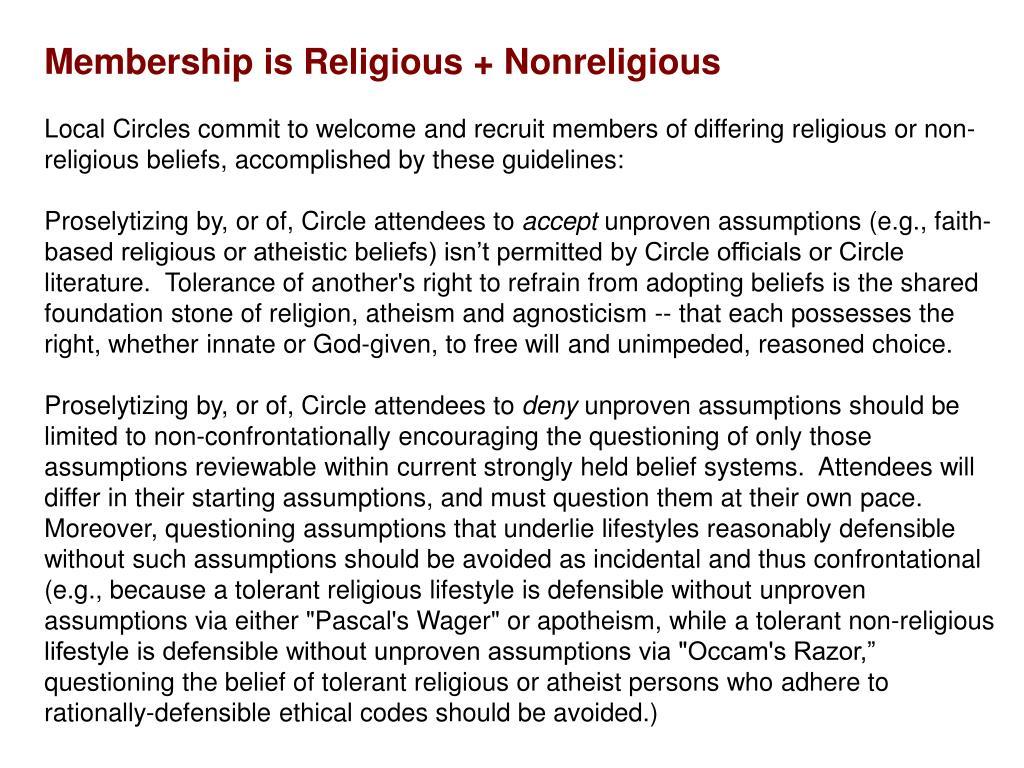 Membership is Religious + Nonreligious