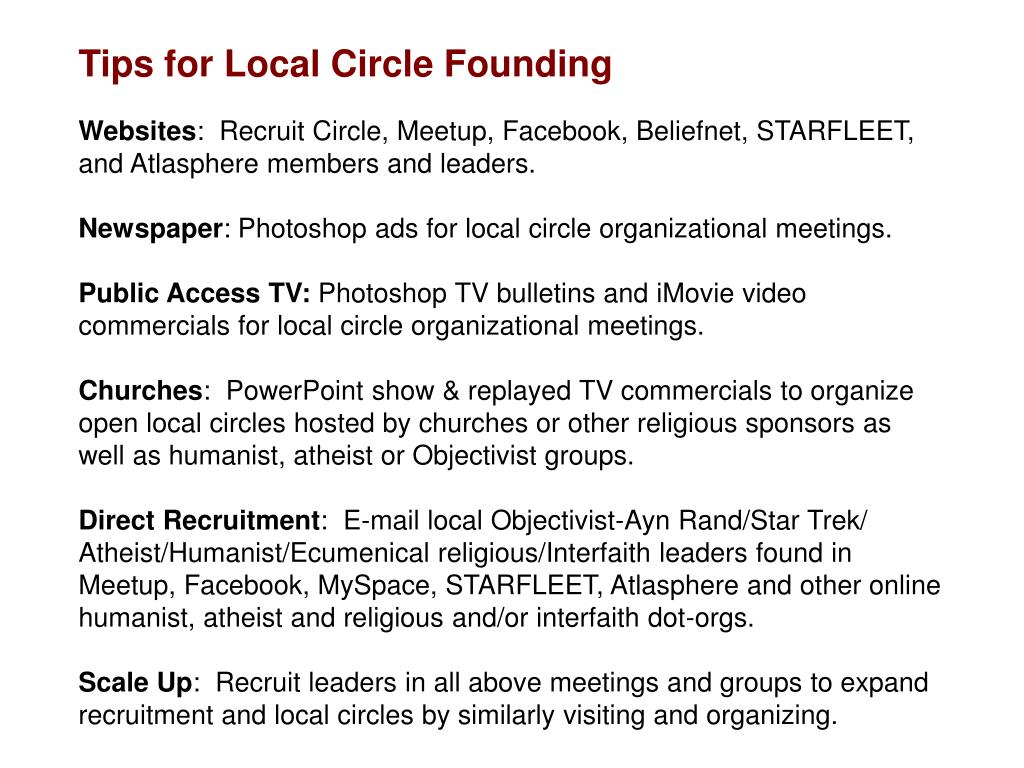 Tips for Local Circle Founding