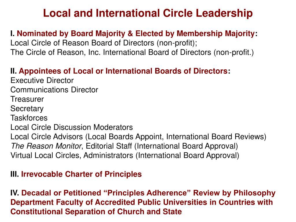 Local and International Circle Leadership