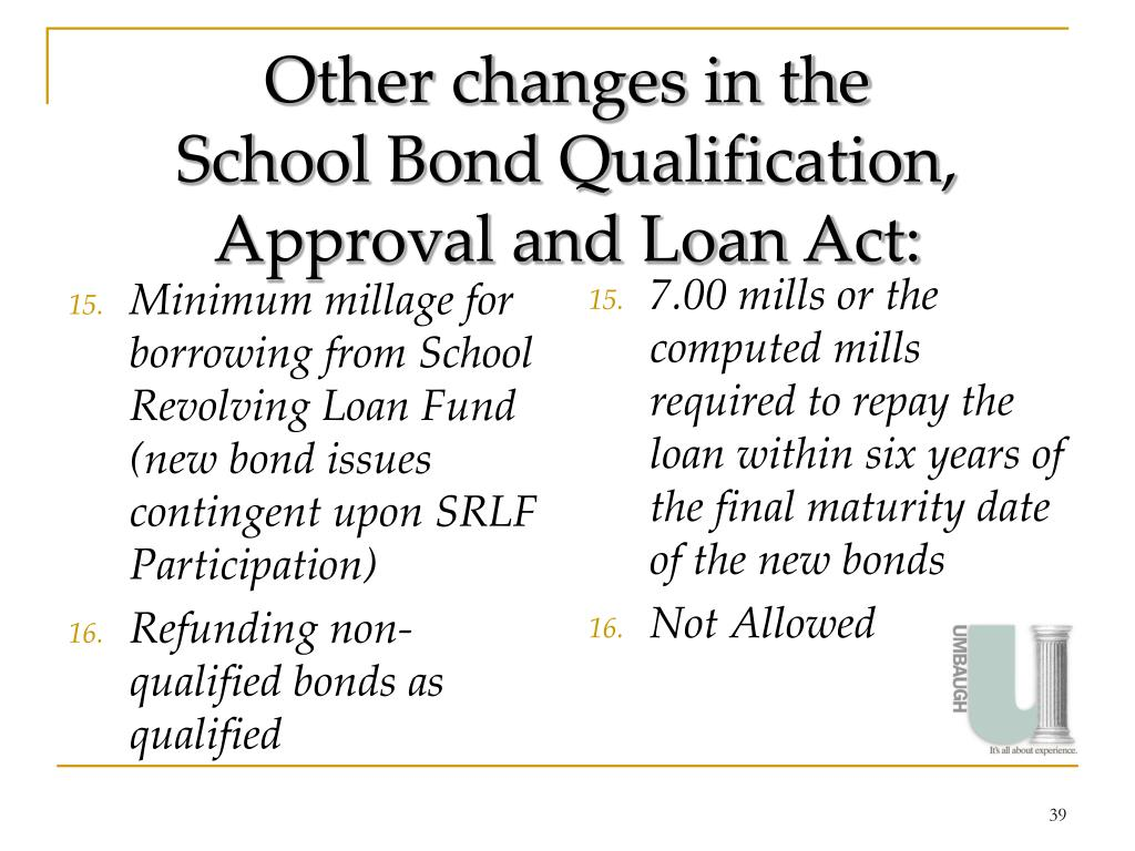 Minimum millage for borrowing from School Revolving Loan Fund (new bond issues contingent upon SRLF Participation)