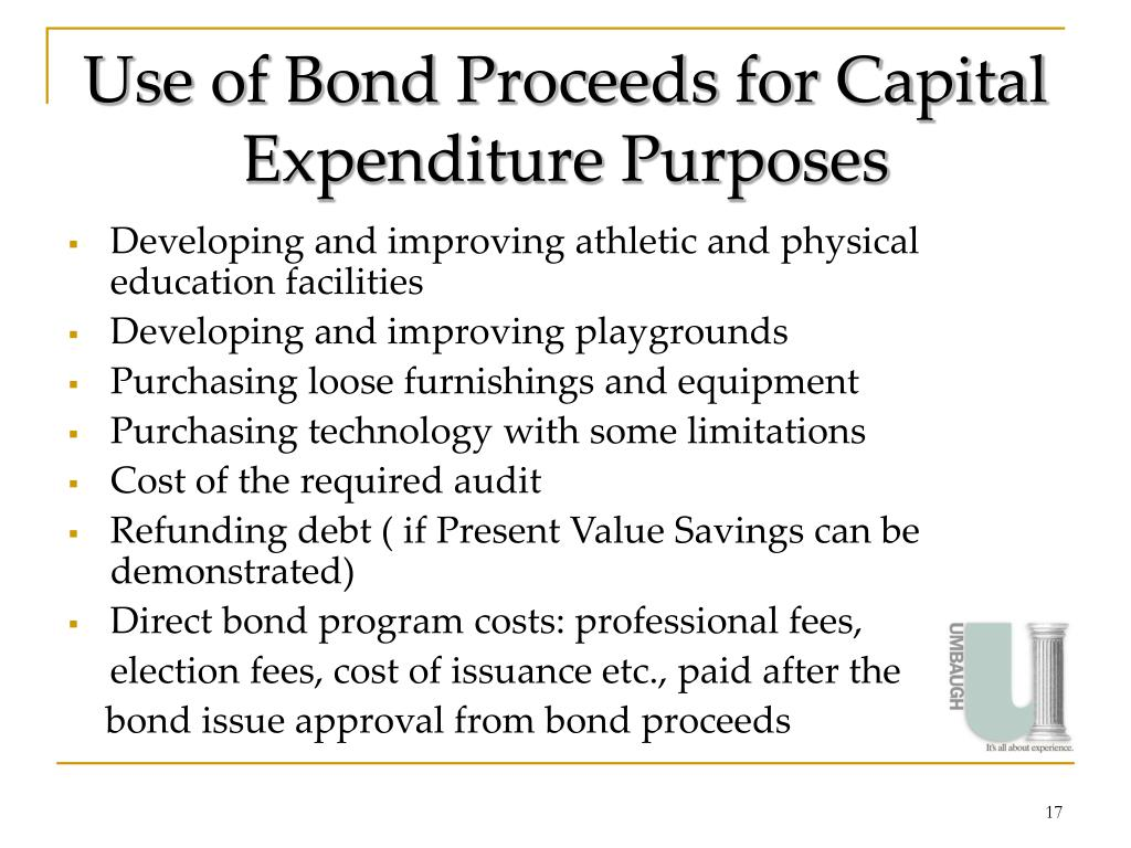 Use of Bond Proceeds for Capital Expenditure Purposes
