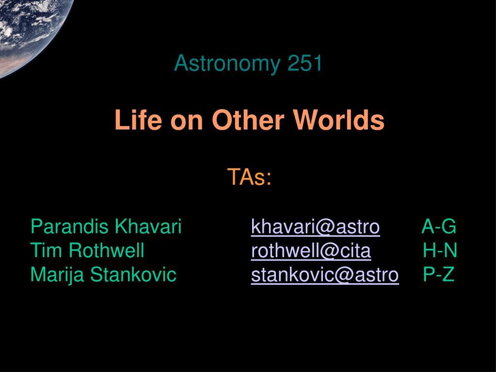 Astronomy 251