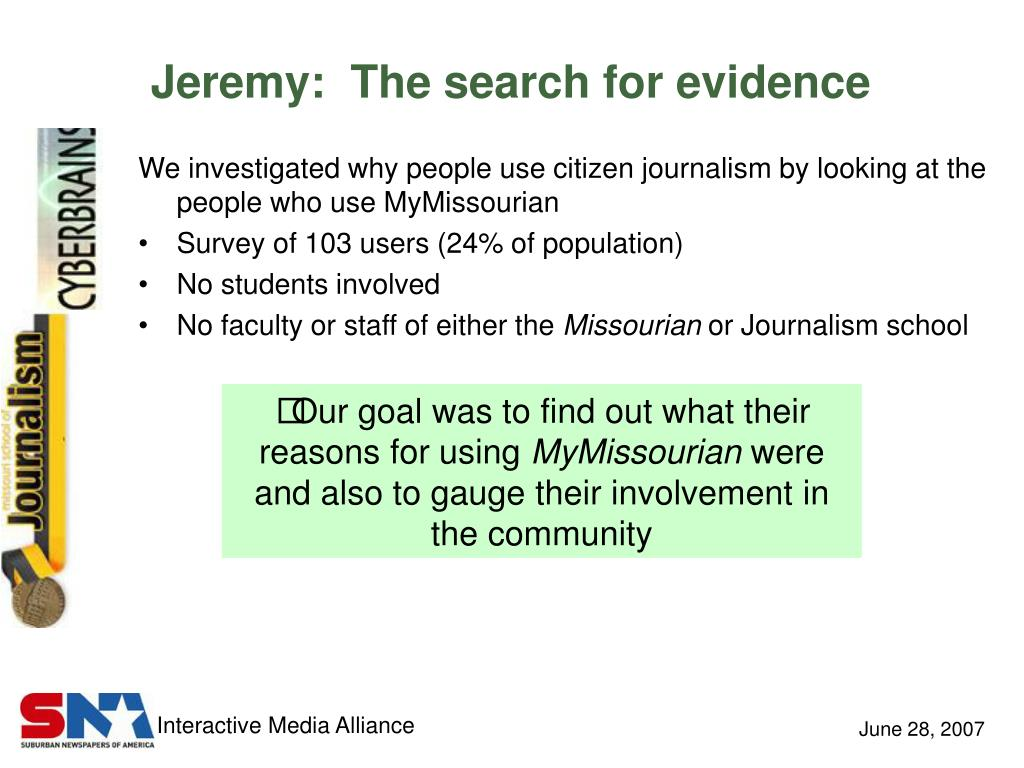 Jeremy:  The search for evidence