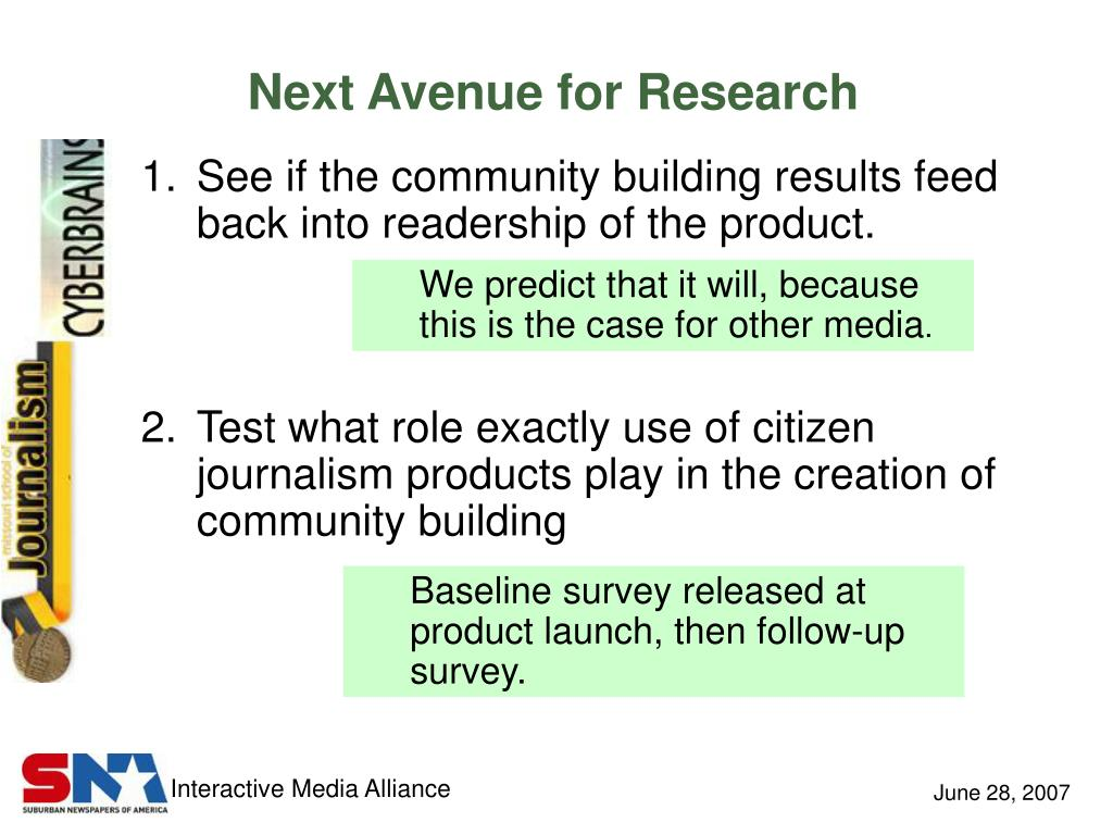 Next Avenue for Research