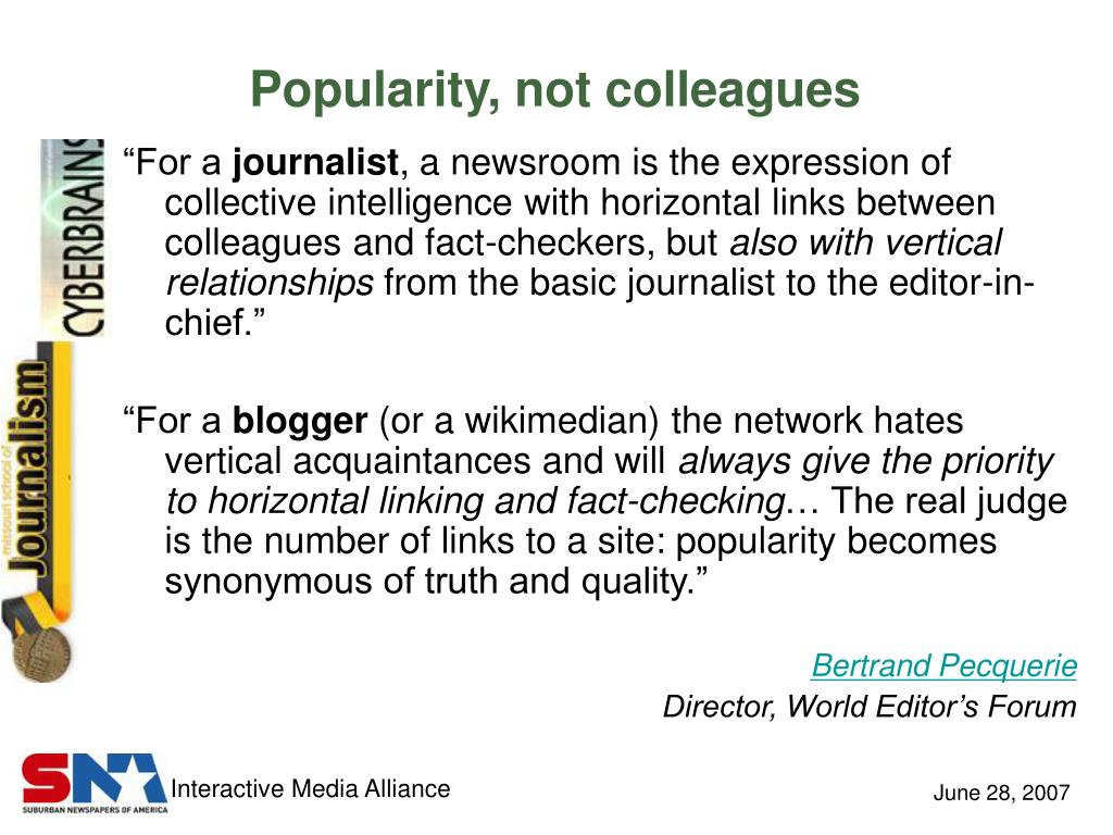 Popularity, not colleagues