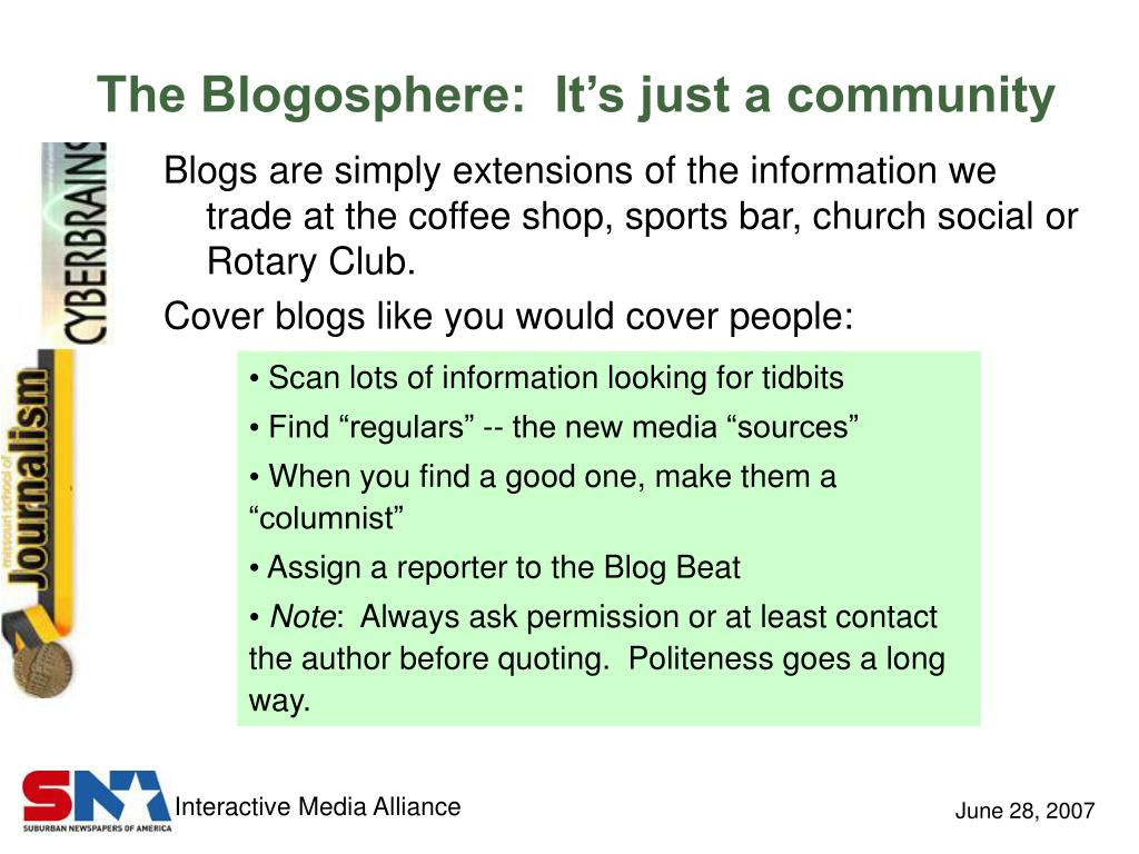 The Blogosphere:  It's just a community