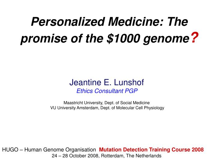 personalized medicine the promise of the 1000 genome n.