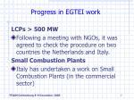 progress in egtei work