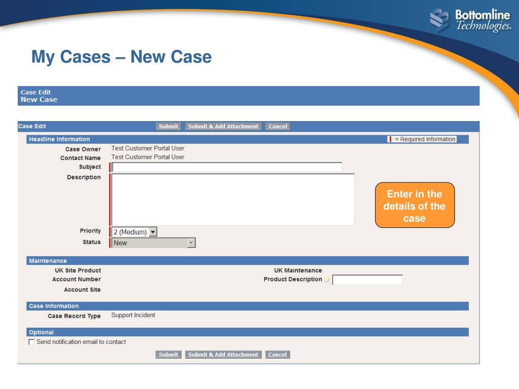 Enter in the details of the case