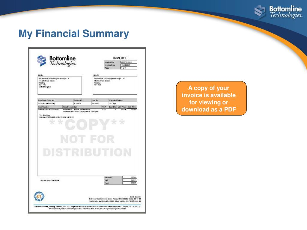 A copy of your invoice is available for viewing or download as a PDF