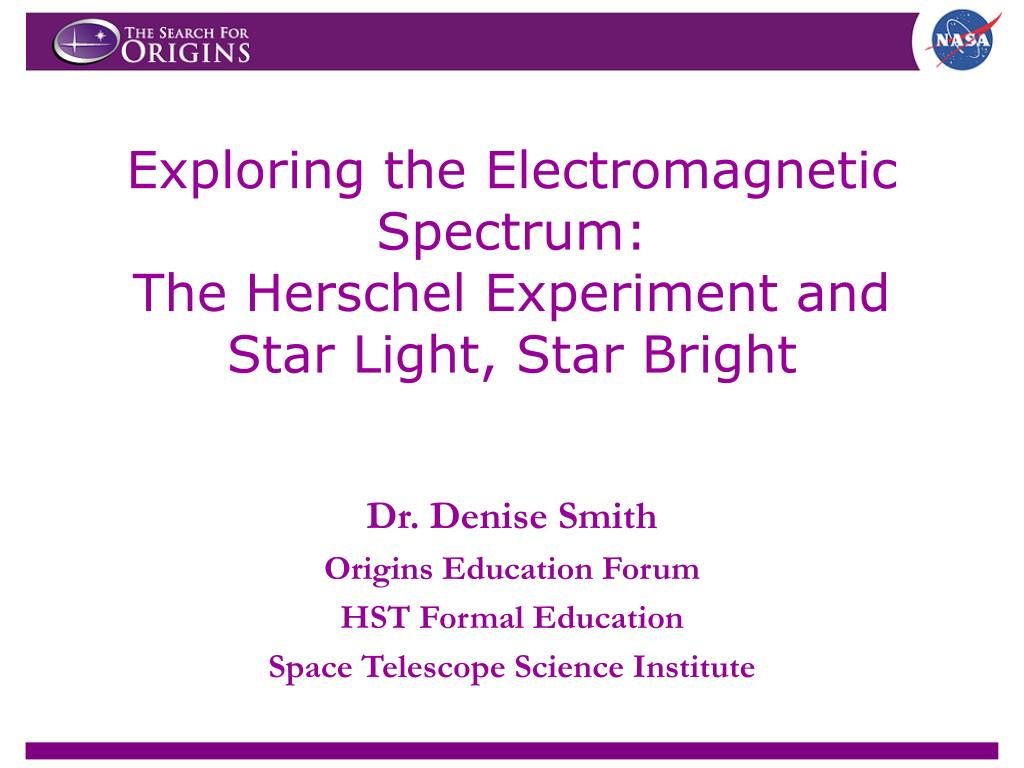 exploring the electromagnetic spectrum the herschel experiment and star light star bright l.