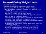 forward facing weight limits