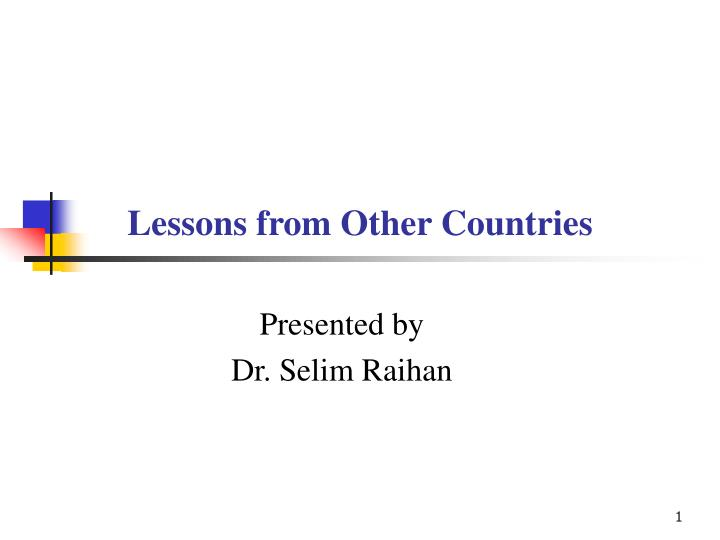 lessons from other countries n.
