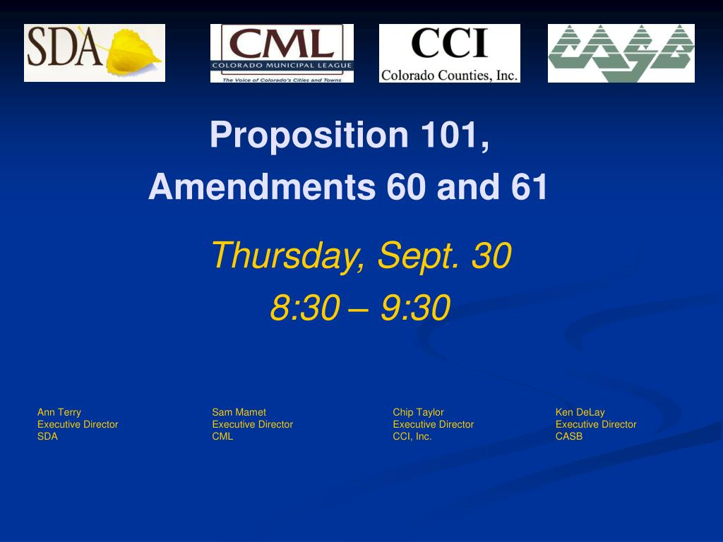proposition 101 amendments 60 and 61 l.