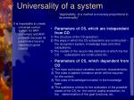 universality of a system