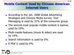 mobile content used by chinese american internet users