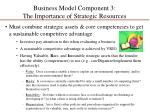 business model component 3 the importance of strategic resources