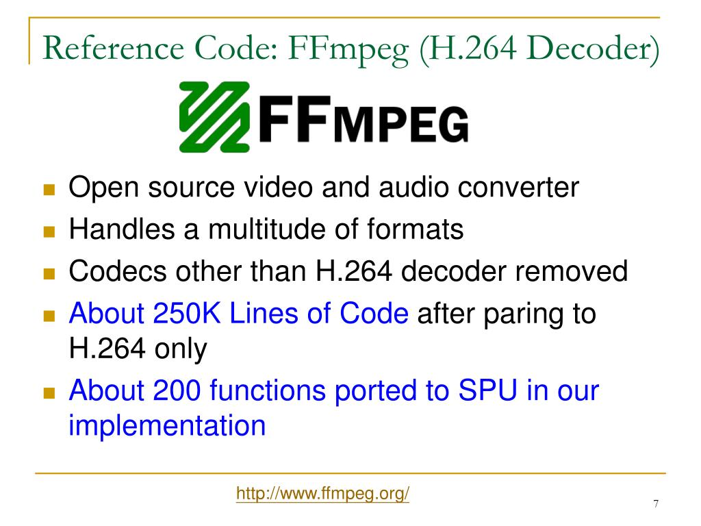 Reference Code: FFmpeg (H.264 Decoder)
