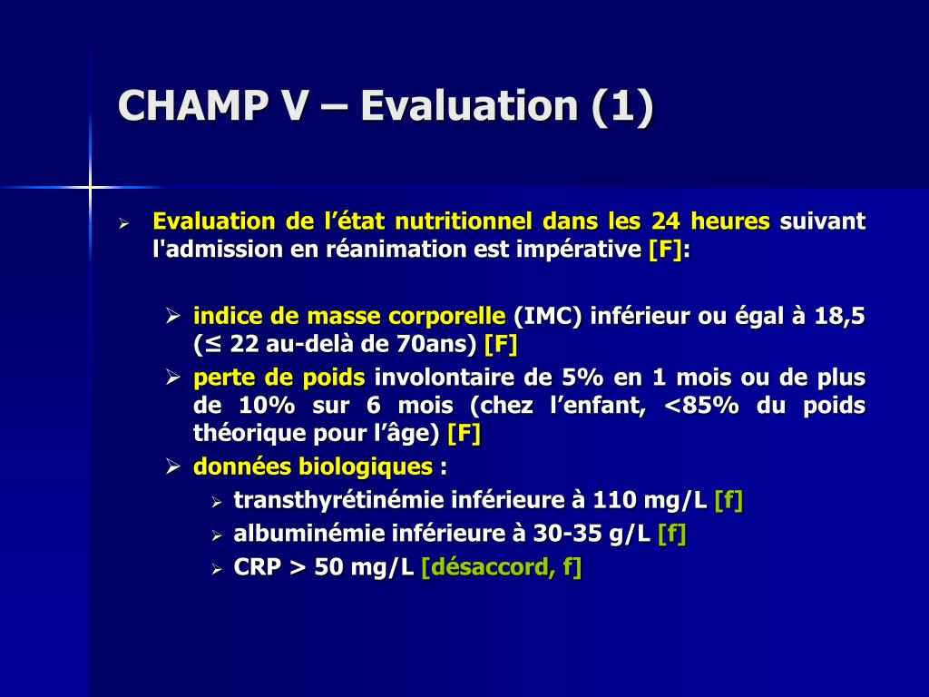 CHAMP V – Evaluation (1)