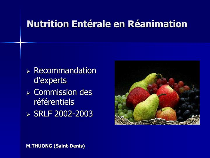 Nutrition ent rale en r animation