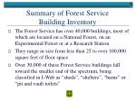 summary of forest service building inventory