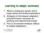 learning to adapt summary