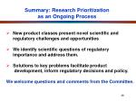 summary research prioritization as an ongoing process