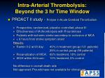 intra arterial thrombolysis beyond the 3 hr time window49