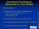intra arterial thrombolysis beyond the 3 hr time window53