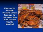 community initiated prostate cancer program for uninsured men rural charles county maryland