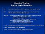 historical timeline cancer health disparities