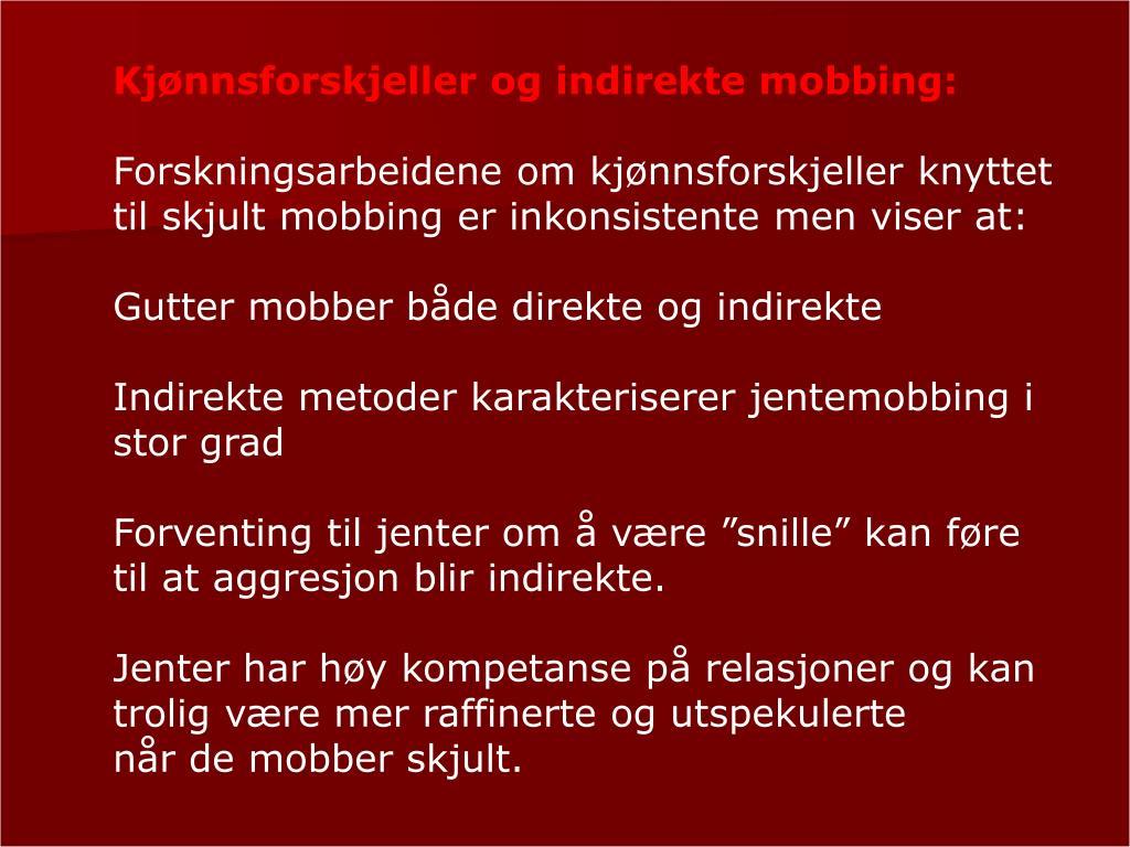 Kjønnsforskjeller og indirekte mobbing: