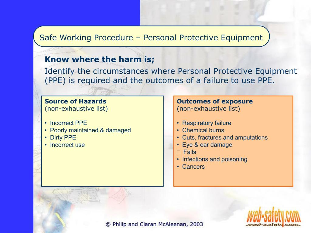 PPT - Safe Working Procedure – Personal Protective Equipment