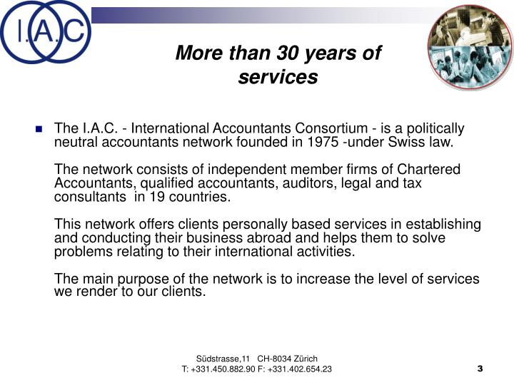 More than 30 years of services
