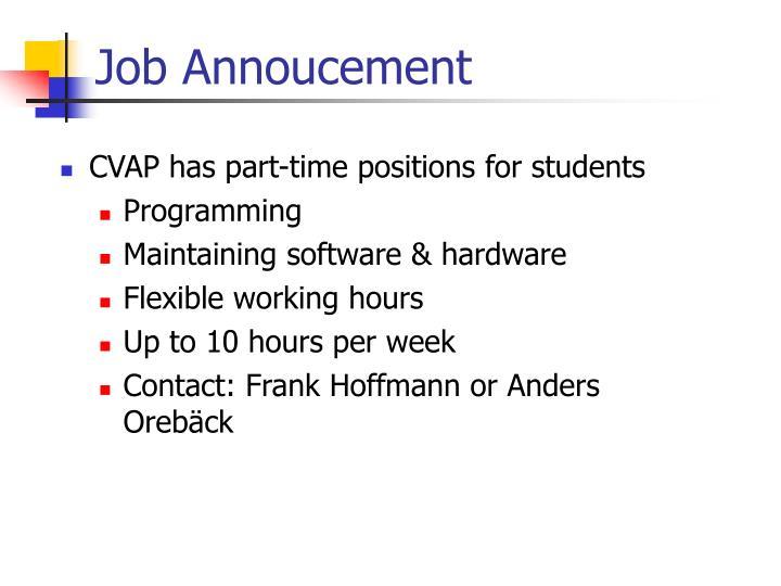 Job annoucement