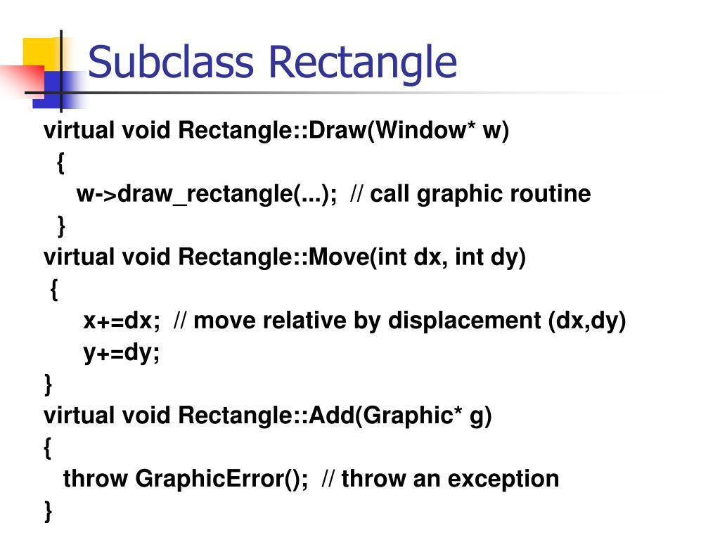 Subclass Rectangle