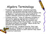 algebra terminology