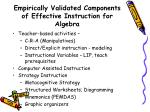 empirically validated components of effective instruction for algebra