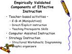 empirically validated components of effective instruction
